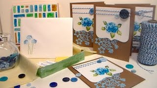 Elegant Blue Floral Stationery set {A Great Gift to Make!}