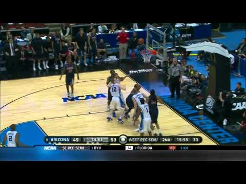 2011 NCAA March Madness Sweet 16 Arizona - Duke highlights. Derrick Williams upsets Coach K!