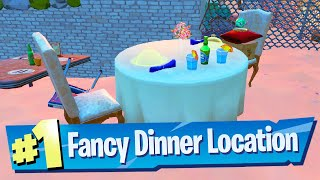 Serve Fishstick and his date a Fancy Dinner at any Restaurant Location - Fortnite