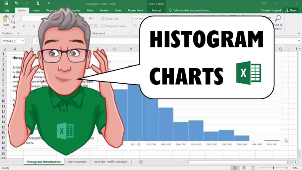 how to make a histogram in excel mac  Creating Histogram Charts in Excel 2016 - YouTube