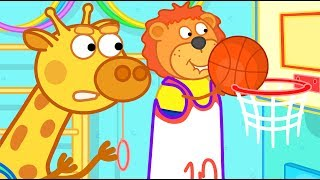 Lion Family Playing Basketball Cartoon for Kids