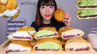 MUKBANG 몽글몽글 인절미 말차 단팥 크림빵 디저트 먹방 INJEOLMI GREEN TEA CREAM BREAD Dessert asmr クリームパン 咀嚼音
