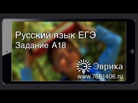 ЕГЭ 2013 по Русскому Языку. Задание А18. [Подготовка к ЕГЭ/ОГЭ]