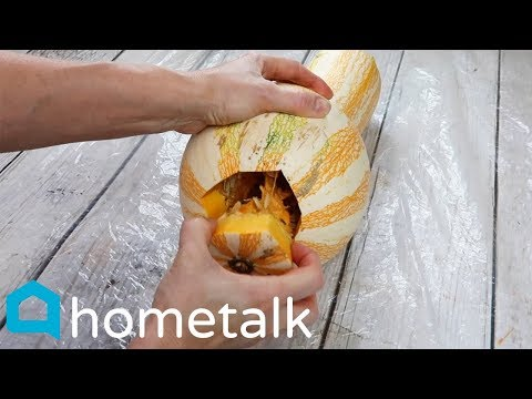 DIY Gourd Lantern | Light up your fall mantel with this idea! | Hometalk