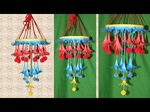 Paper & Woolen Crafts \\ How to Make Beautiful Ceiling Hanging/Jhumar for Room/Home Decoration!!