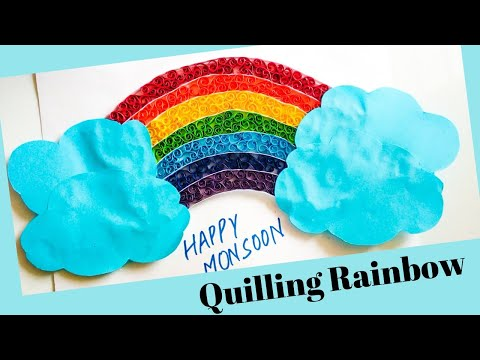 Make Colourful paper Quilled rainbow | Quilling Rainbow tutorial | Rainbow paper craft