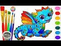 Drawing for Kids Rainbow Dragon . Learn How to Draw Art Color for Kids Children