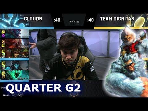 Cloud 9 vs Dignitas | Game 2 Quarter Finals S7 NA LCS Summer 2017 Play-Offs | C9 vs DIG G2 QF