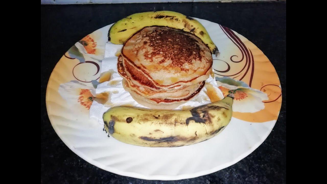 गेंहू के आटे से बनाये Healthy Eggless Banana Pancakes   Pancake recipe in 5 mints   Kids special