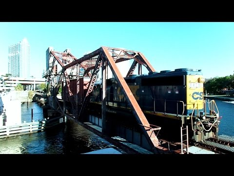 CSX Train Waits For 102 Year Old Draw Bridge To Lower