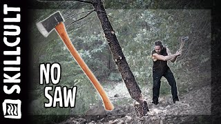 AXE ONLY Tree Processing,  Saw Free Firewood YouTube Videos