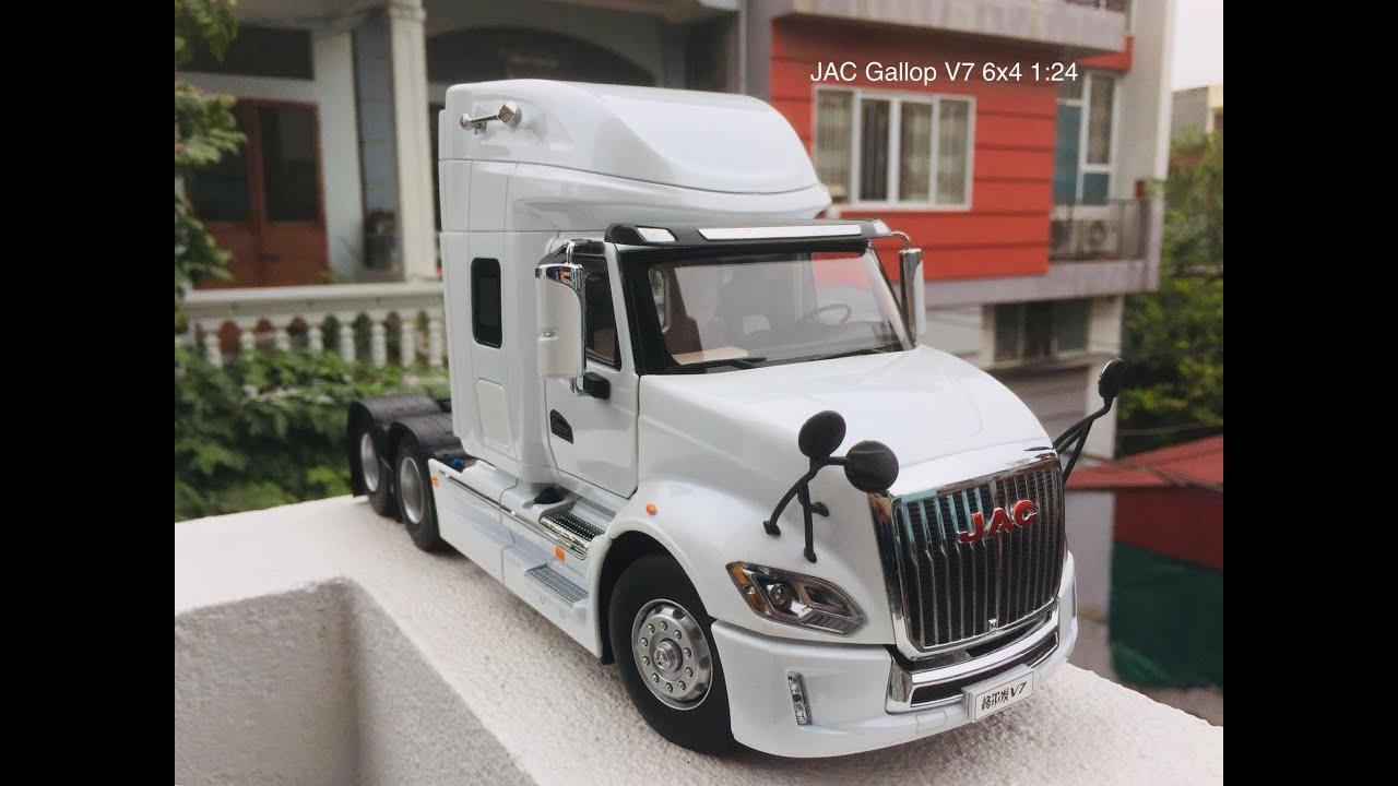 Review Mô Hình Xe Đầu Kéo Ngao JAC Gallop V7 2019 1/24 Dealer/International Prostar+ Maxxforce