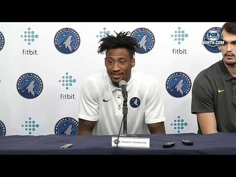 Timberwolves introduce newly acquired Covington, Saric, Bayless