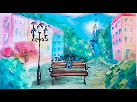 Landscape Paris – Sketch – Watercolor, Pastel Chalks