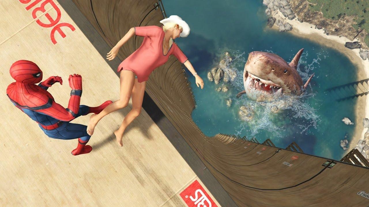 GTA 5 Water Ragdolls | SPIDERMAN Jumps/Fails ep.96 (Funny Moments)