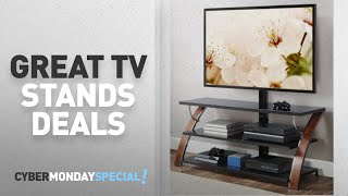 Walmart Top Cyber Monday TV Stands Deals: Whalen Brown Cherry 3-in-1 Flat Panel TV Stand for TVs up