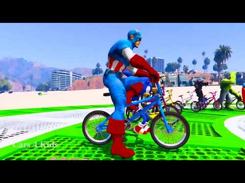 Thumbnail: Сolors Cars for Kids with BMX Jetski & Spiderman Cartoon w Bus Superheroes for babies
