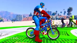 LEARN COLORS with BMX Jetski & Spiderman Cars Cartoon for Kids w Bus Superheroes for babies