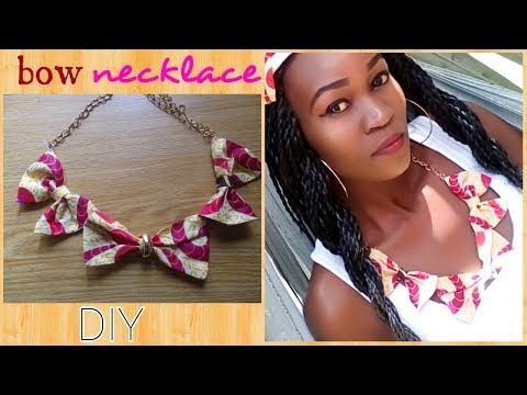 DIY African(Ankara) Print Bow Necklace-2 ways