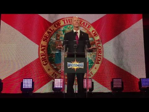 Florida Gov. Rick Scott announces WrestleMania 33 at the Orlando Citrus Bowl