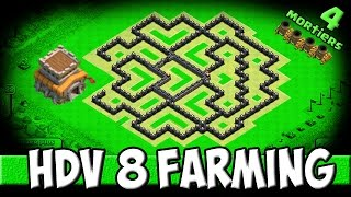 Clash of Clans - Village HDV 8 Ressources! 2 foreuses / 4 mortiers (Farming)