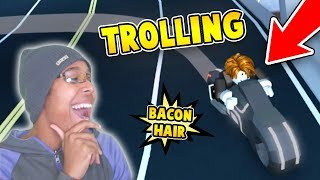 TROLLING AS BACON HAIR with VOLT BIKE in ROBLOX JAILBREAK!!!