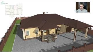 Проект одноэтажного дома с гаражом и навесом «Семья 4» C-282-ТП