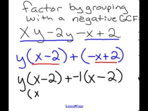 factor by grouping negative GCF - YouTube
