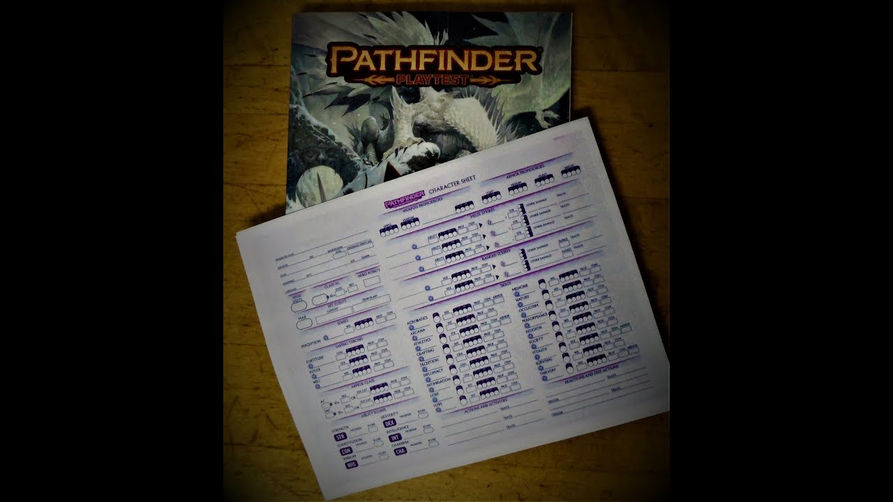 Pathfinder 2nd Edition Playtest 1st Level Character Creation