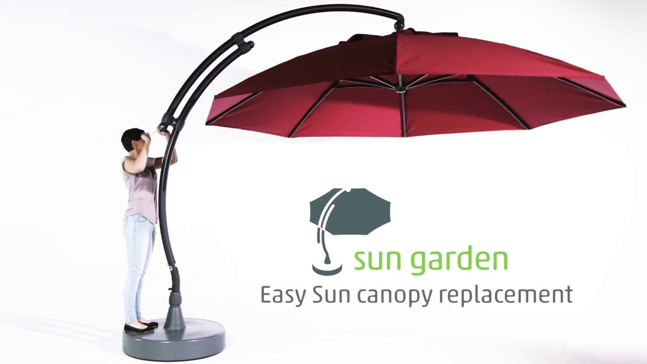 sun garden easy sun parasol canopy replacement youtube. Black Bedroom Furniture Sets. Home Design Ideas