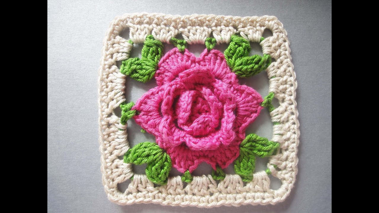 афганский квадрат с розой схема крючок