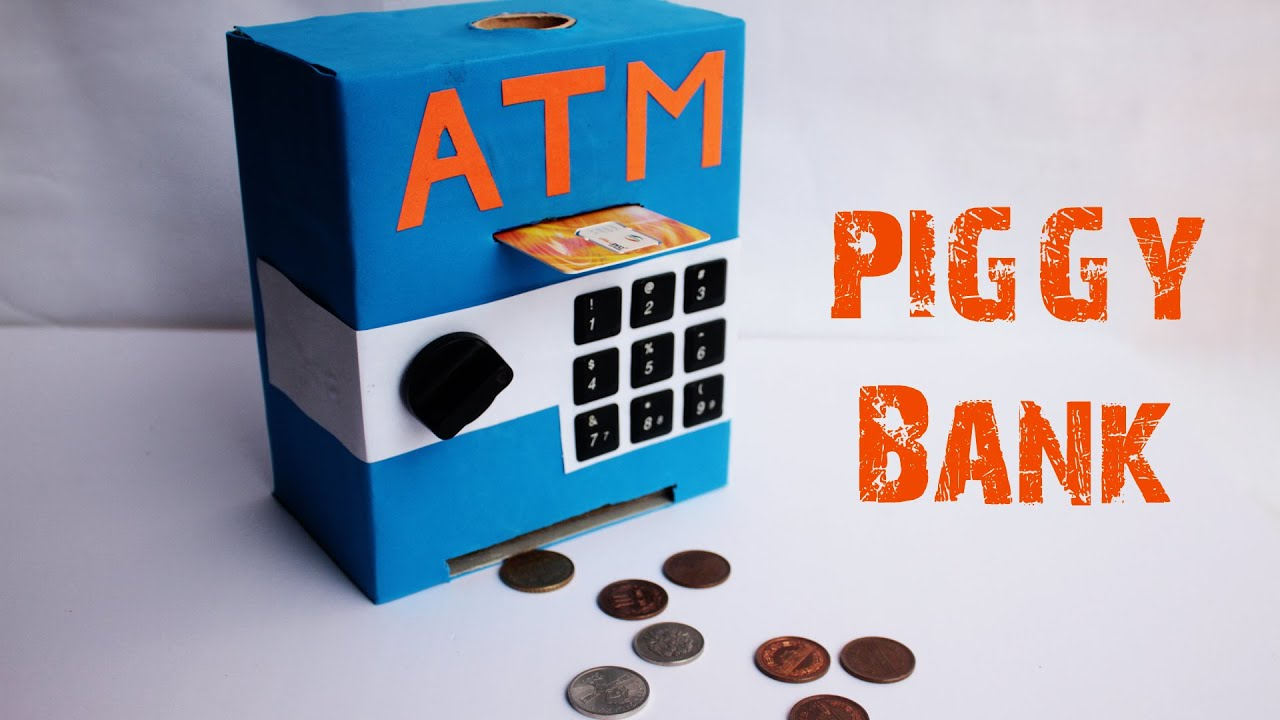 How to make an mini atm piggy bank at home easy to make for How to make a simple piggy bank