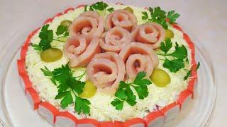 Салат НА ПРАЗДНИК. Салат с крабовыми палочками и красной рыбой.