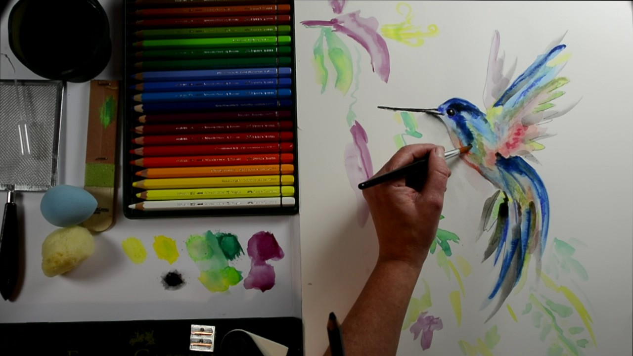 Malen Mit Aquarellstiften Kolibri Mein Kreativ Atelier Nr 89