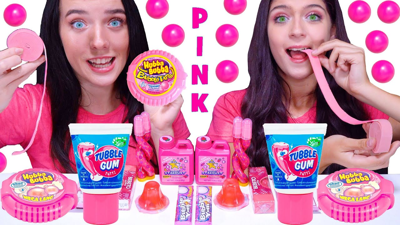 ASMR Pink One Color Food Mukbang (Hubba Bubba Race, Jelly Straws, Bubble Gum)