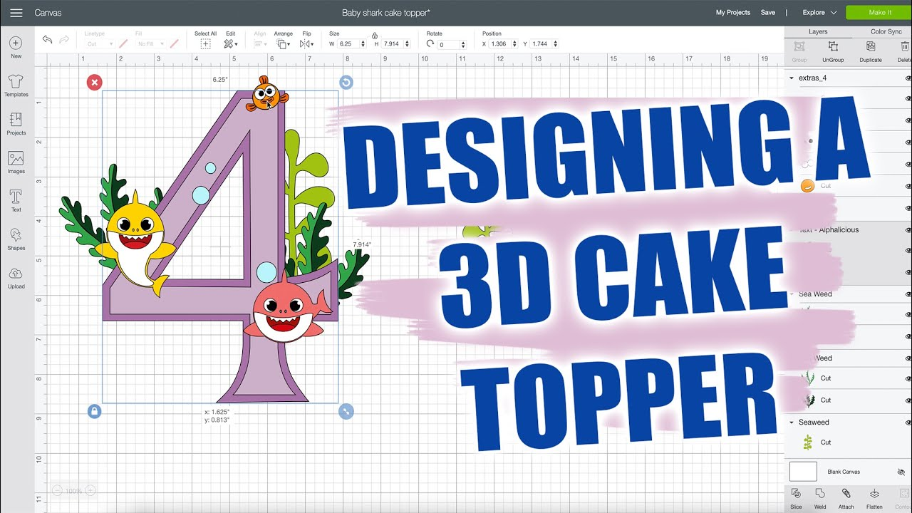 Download Designing 3d Cake Topper Using Cricut Design Space Youtube