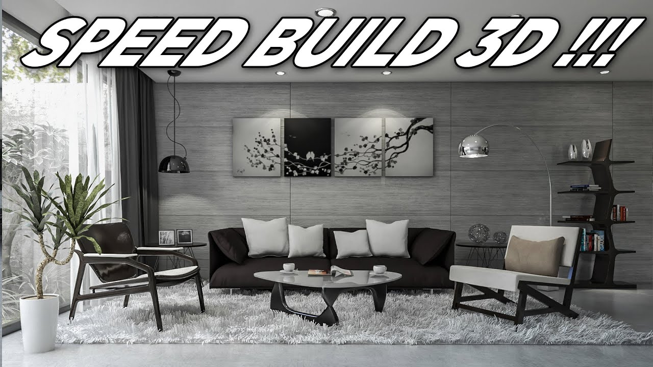 Making Of Modern Concrete Living Room Interior Scene 1