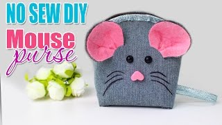 DIY POUCH NO SEW COINS PURSE MOUSE EASY TUTORIAL