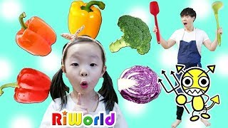 eat vegetable ! Colors for kids  RIWORLD 리원아 야채 좀 먹어요 ! 야채 먹방 어린이  색깔놀이