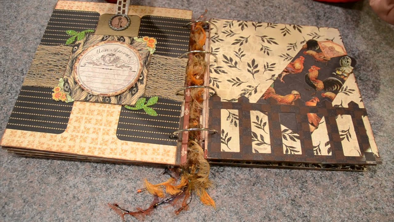 Rooster provincial chipboard mini album youtube