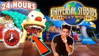 (SCARY) 24 HOUR OVERNIGHT AT UNIVERSAL STUDIOS | SNEAKING AROUND SECURITY OVERNIGHT CHALLE