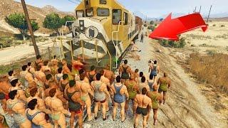 ¿100 Personas pueden detener el tren en GTA 5? - GTA V (Grand Theft Auto 5)