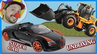 Funny Clown Bob & Construction vehicles Loader testing RC Racing Car