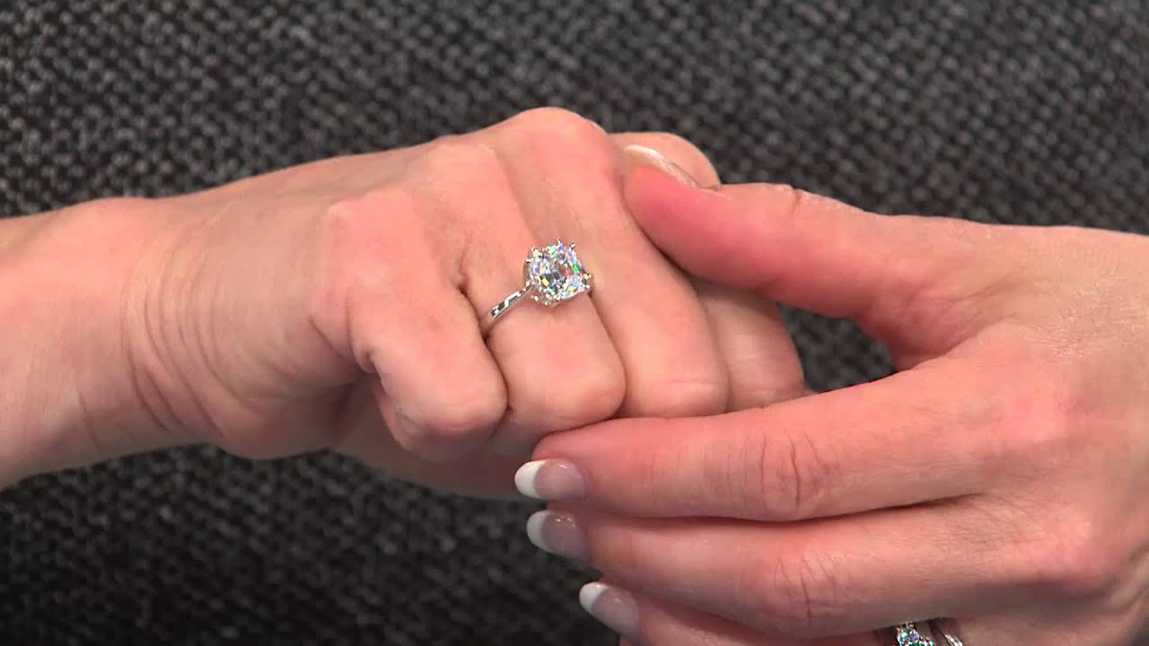 epiphany diamonique 100 facet asscher cut ring with mary beth roe youtube - Diamonique Wedding Rings