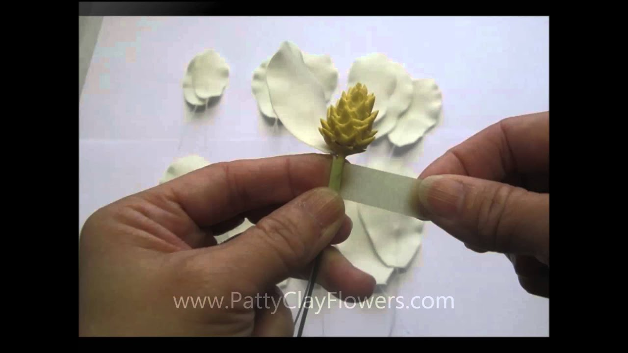 How To Make Clay Flower Magnolia Tutorial Polymer Clay Sugar