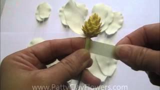 How to make Clay Flower Magnolia tutorial / Polymer Clay / Sugar Craft / Cake Decoration
