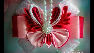 Flower Kanzashi Master Class hand made DIY Tutorial Канзаши МК Брошка Бабочка