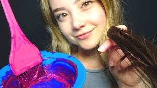 ASMR COLORING YOUR HAIR ROLE PLAY! Brushing Sounds, Latex Gloves, Intense Crinkles