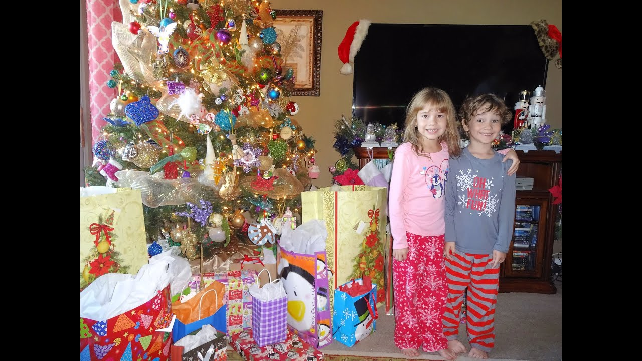 Kids Open Christmas Present 2015