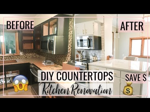 diy-marble-countertops- -kitchen-renovation-on-a-budget!